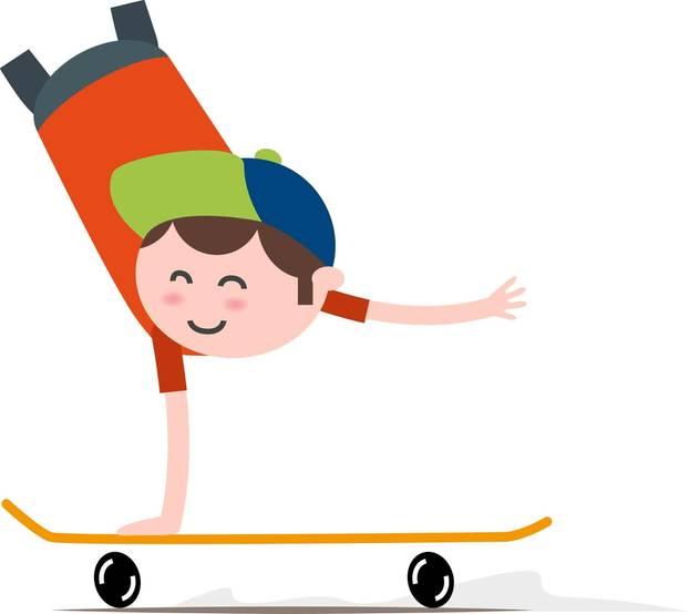 Inklumojis: Ein Zeichentrickmensch ohne Beine fährt im Handstand Skateboard