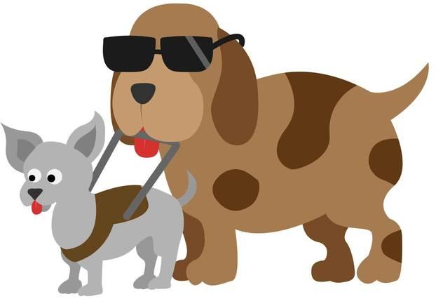 Inklumojis: Ein blinder Zeichentrickhund wird von einem Blindenhund geführt