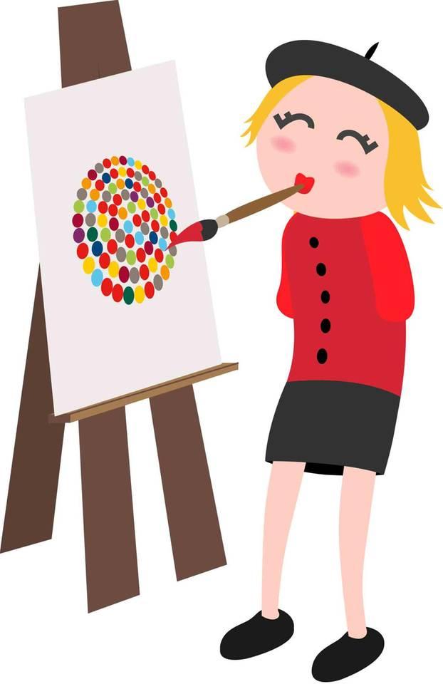 Inklumojis: Zeichentrickfrau ohne Arme malt ein Bild mit dem Mund