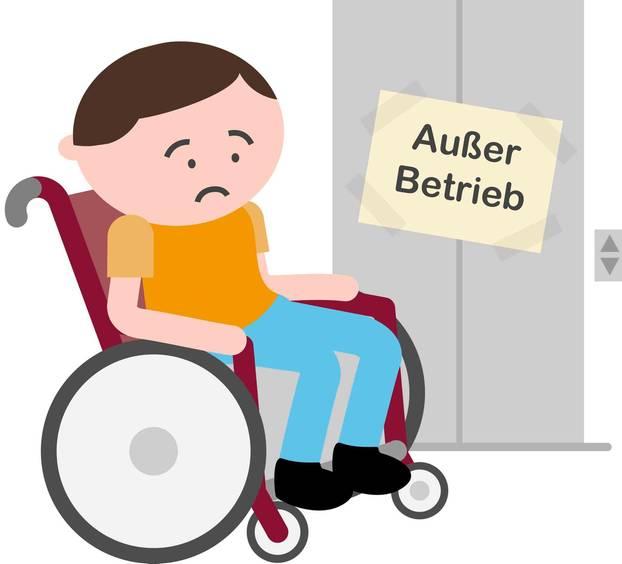 Inklumojis: Zeichentrickmann im Rollstuhl vor kaputtem Aufzug