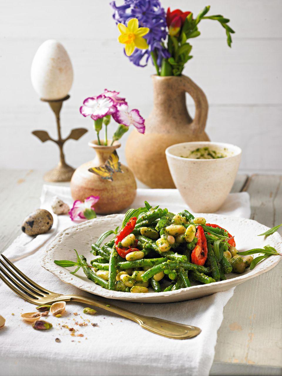 Ostermenü vegetarische Hauptspeise: Warmer Bohnensalat