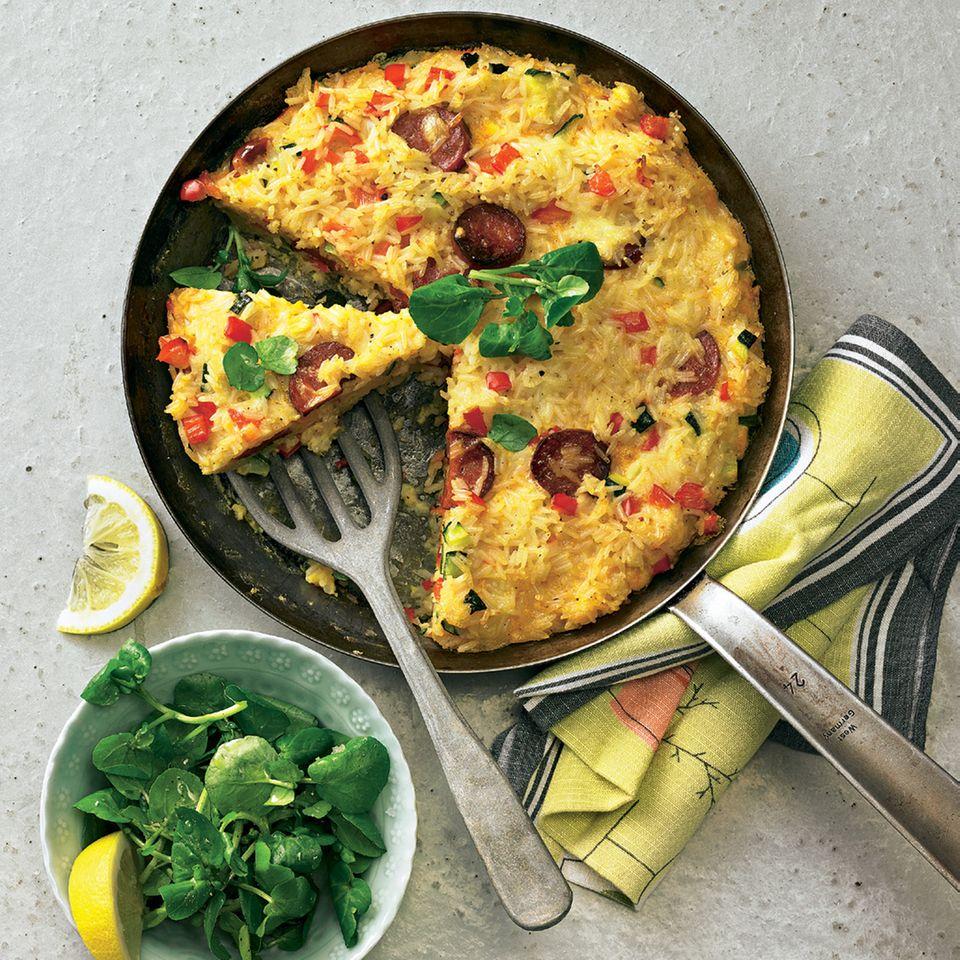 Reis-Tortilla mit Chorizo und Paprika