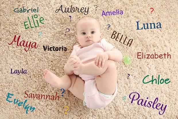 Baby auf Teppich mit Namen drumherum