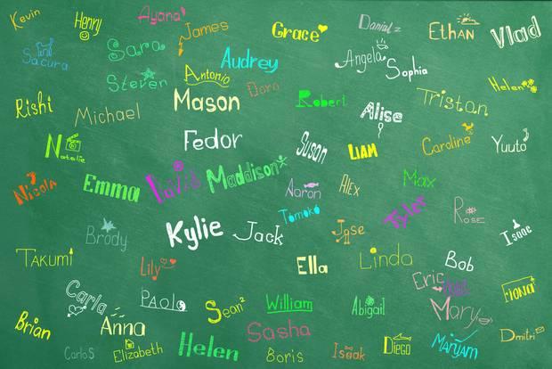 Namen auf Tafel
