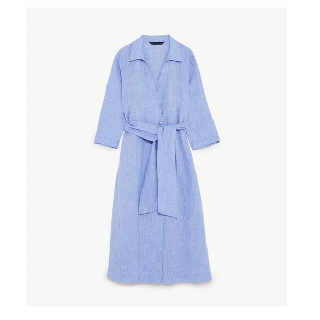Blaues Hemdkleid mit Zierschleife