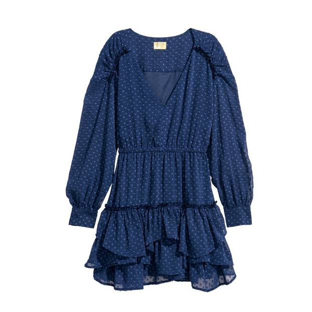 Blaues Chiffon-Kleid