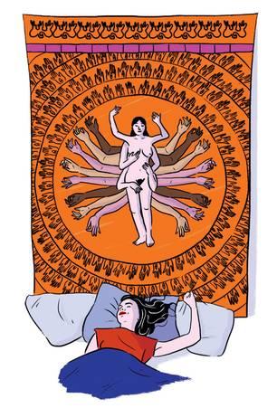Wie komme ich zum Orgasmus: Illustration Frau im Bett
