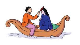 Wie komme ich zum Orgasmus: Illustration Mann und Frau in Boot