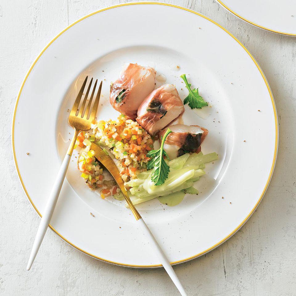 Seeteufel-Saltimbocca mit Wasabi-Kohlrabi