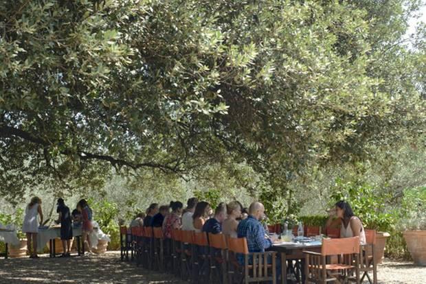 Trudie Styler: Mittagessen unter Olivenbaum