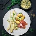 Spargel mit Kartoffeln, Schinken & Bozener Soße
