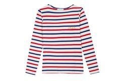 Langärmliges Shirt mit roten und blauen Streifen. Über hello love, um 75 Euro.