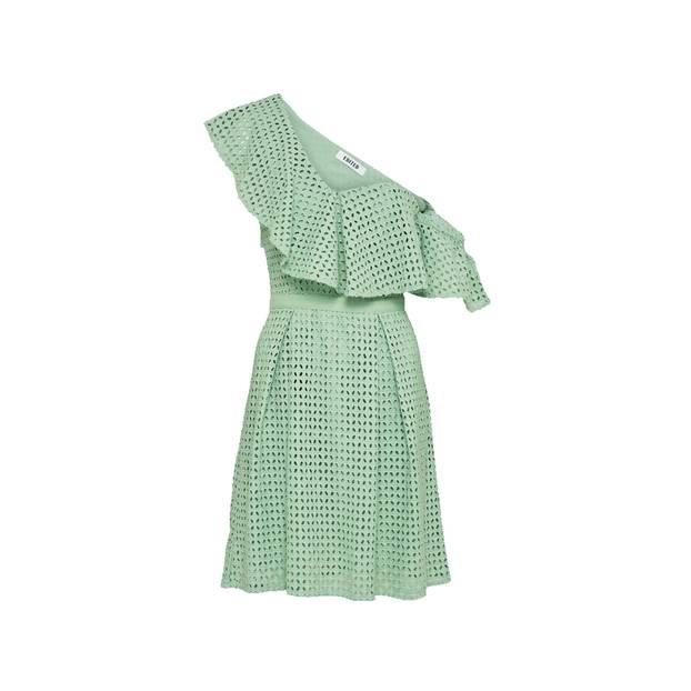 Grünes Kleid mit Lock-Optik und Taillenband. Von Edited, circa 100 Euro.