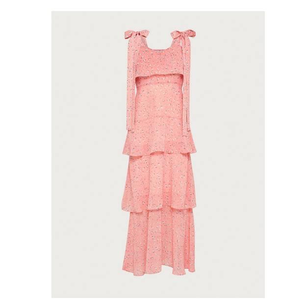 Perfekt für die Sommerhochzeit: Pinkes Kleid mit Schleifen-Details an der Schulter. Von Edited, um 90 Euro.