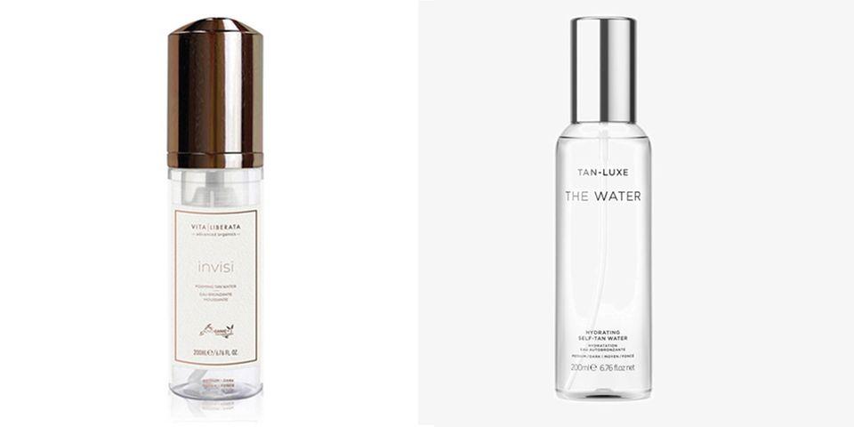 Tanning Water gibt es zum Beispiel von Vita Liberata (links im Bild), über Flaconi, um 30 Euro. Und von Tan-Luxe (rechts im Bild), zum Beispiel über Zalando, für circa 43 Euro.