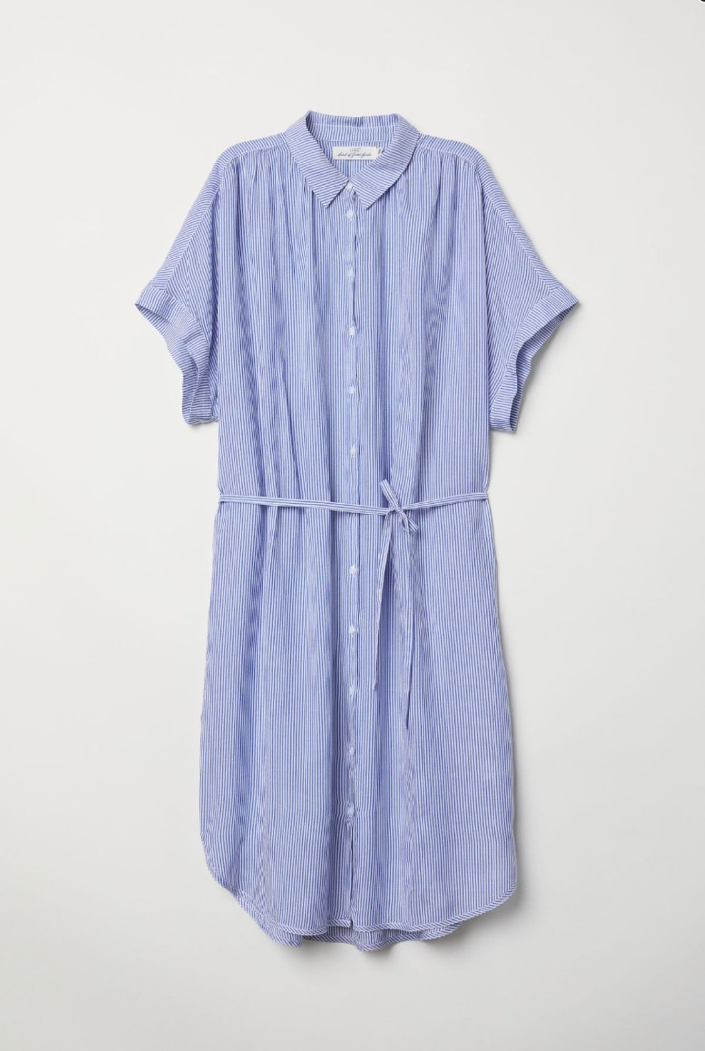 Luftig und schick fürs Büro: Mittellanges Hemdblusenkleid von H&M, um 30 Euro.