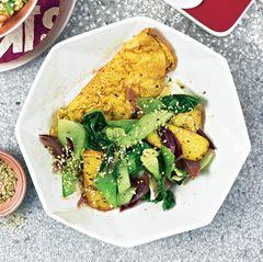 Senf-Omelett mit süß-saurem Pak Choi