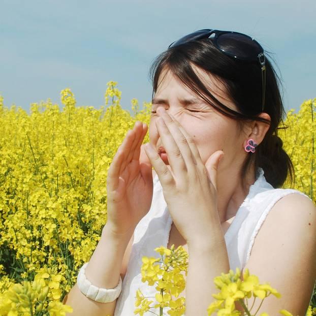 Eine Frau niest in einem Rapsfeld