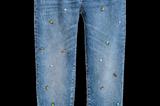 Vintage Jeans mit Glitzersteinen von H&M