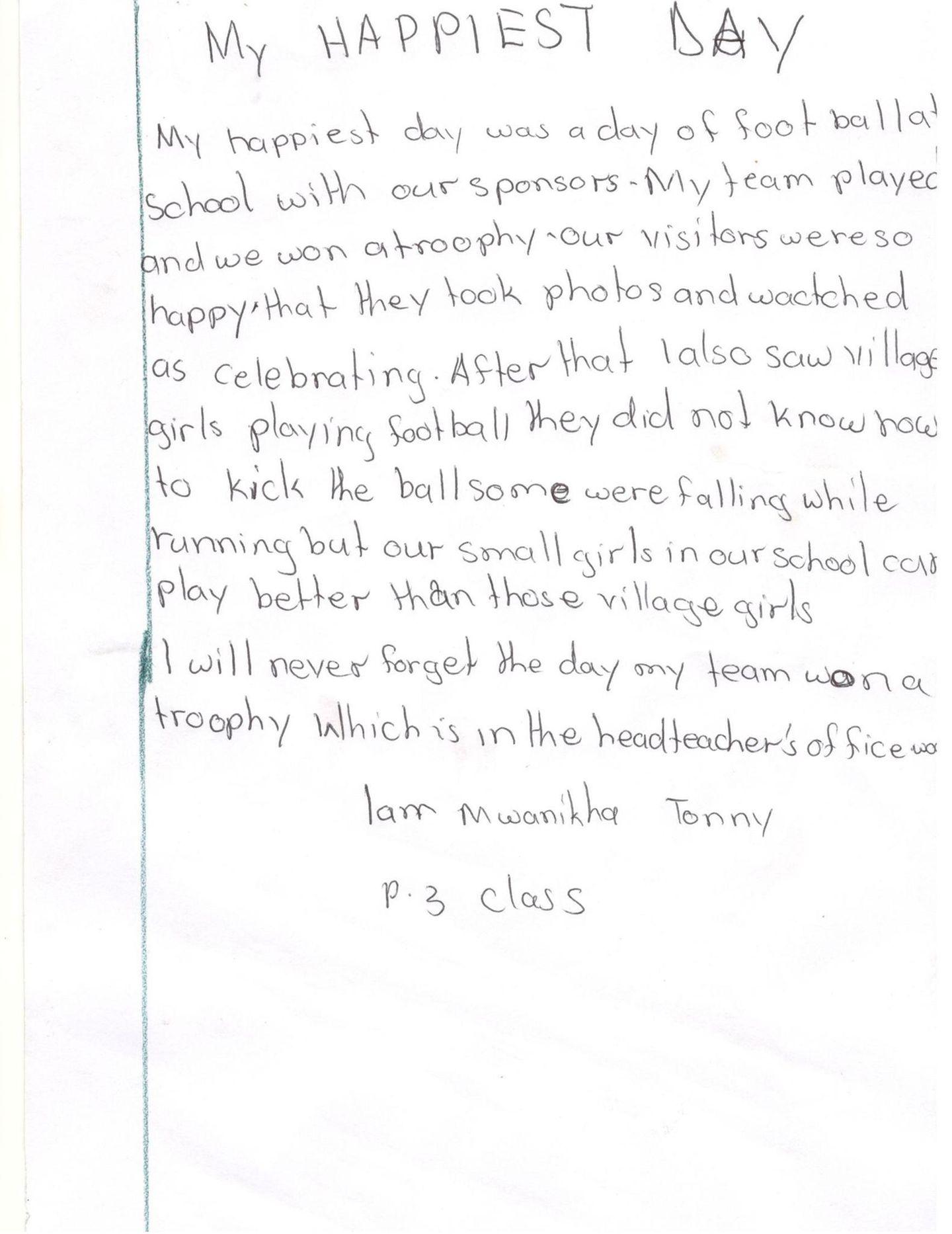 Brief von Tonny aus Uganda