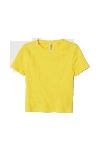 Gelbes geripptes T-Shirt von H&M