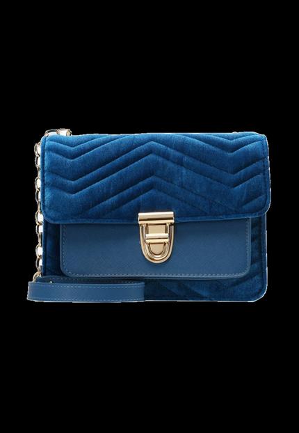 Blaue Sommertasche von LYDC London im Samt-Look