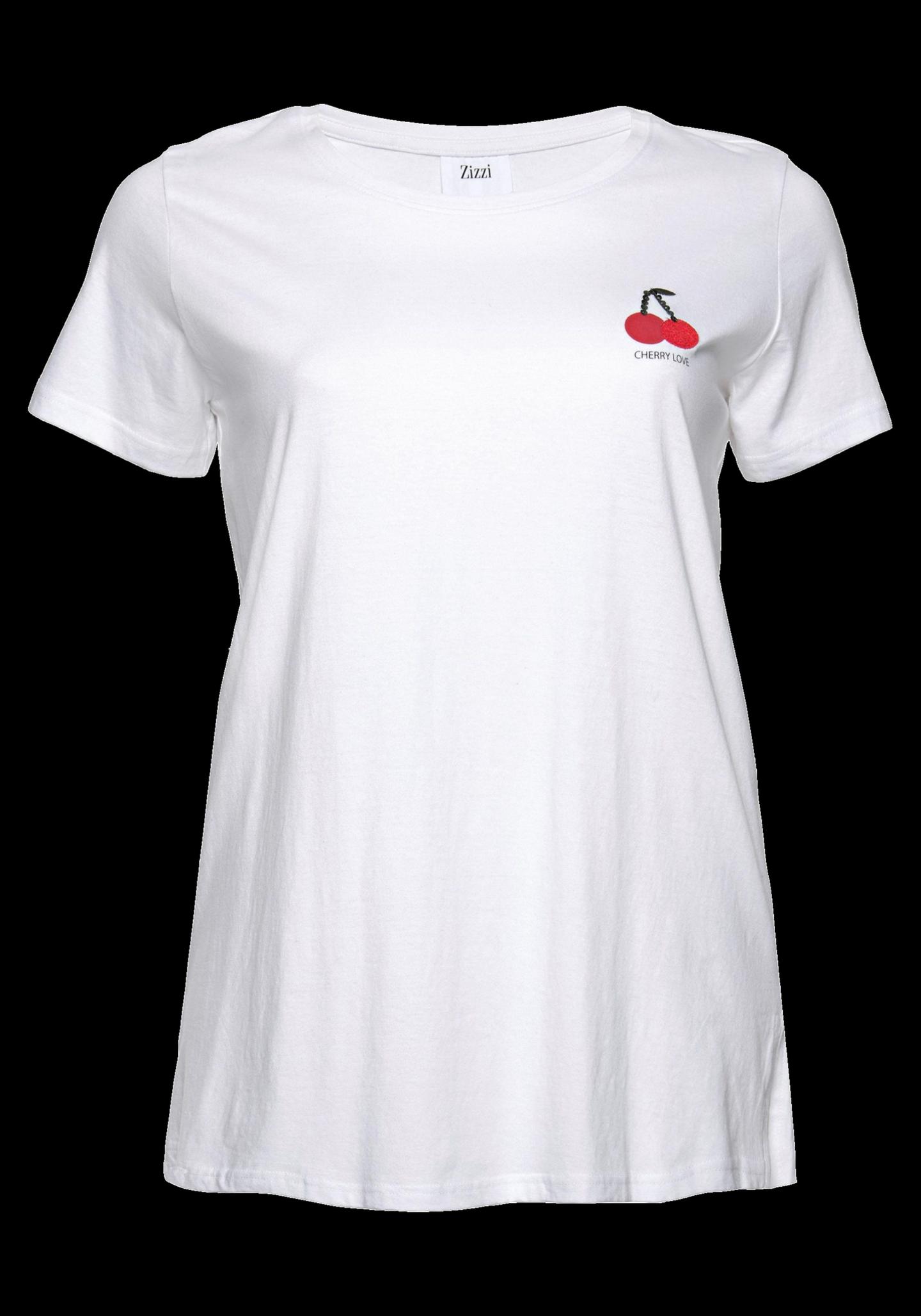 Plus-Size T-Shirt von Zizzi mit Cherry-Print