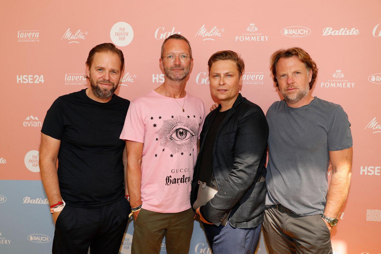 Jens Winterbauer, GALA-Modechef Marcus Luft, Designer Dawid Tomaszewski und Marc Lehr
