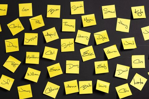 Namen Merken: Post-Its mit Namen