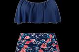 Bauch-Weg-Bikini: High Waist Bikini mit Blumen von Angerella