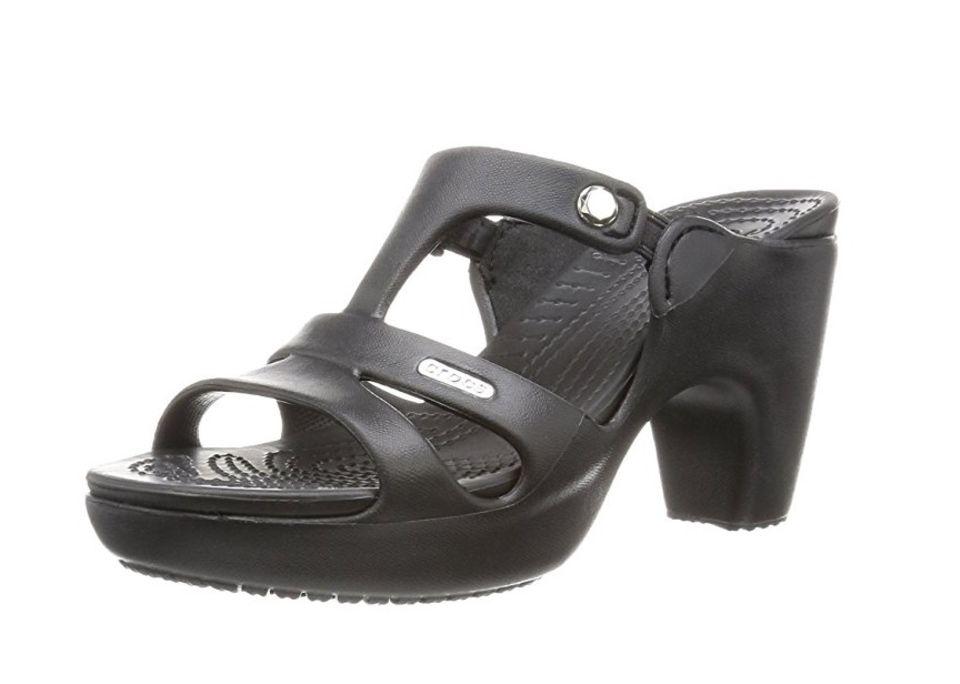 Crocs mit Absatz in Schwarz