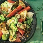Brotsalat mit Melone und Mozzarella