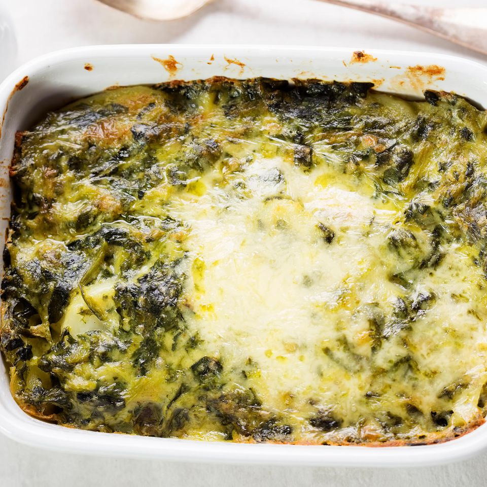 Kartoffel-Spinat-Auflauf mit Lachs