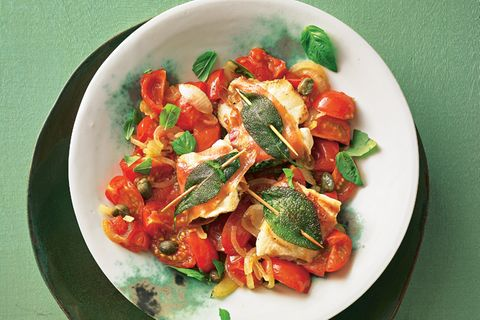 Hähnchen-Saltimbocca mit Tomaten