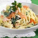 Spinat-Lachs-Nudeln