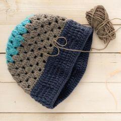 Mütze häkeln - gehäkelte Mütze mit Streifen