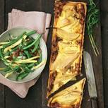 Birnen-Meerrettich-Tarte mit Bohnensalat