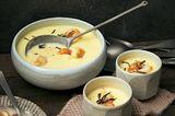 Topinambur-Kartoffel-Cremesuppe mit Garnelen