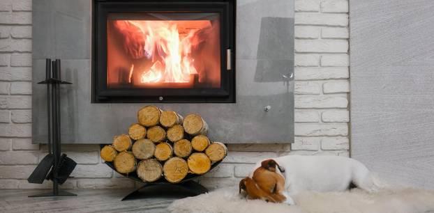 Heizen mit Holz: Holzstapel vor Kamin