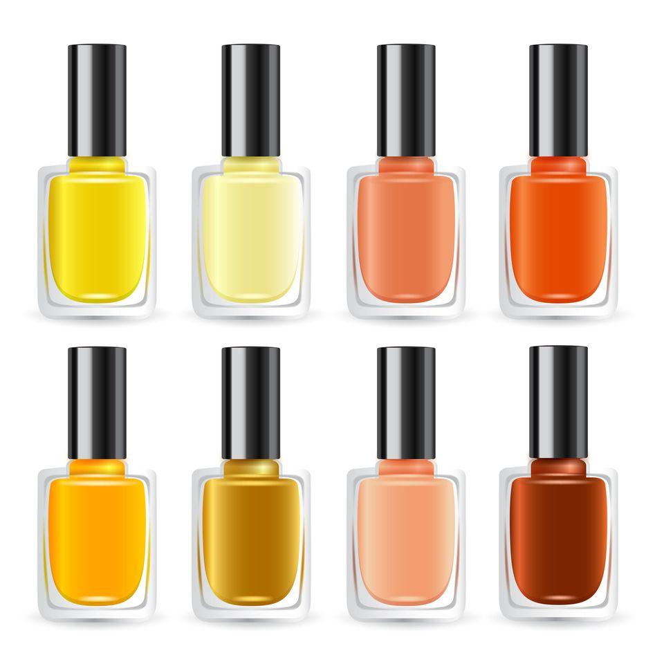 Nagellack: Gelber und orangefarbener Nagellack