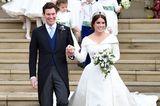 Prinzessin Eugenie trägt ein ausgestelltes Kleid mit aufwendigem Kragen aus weißer Seide