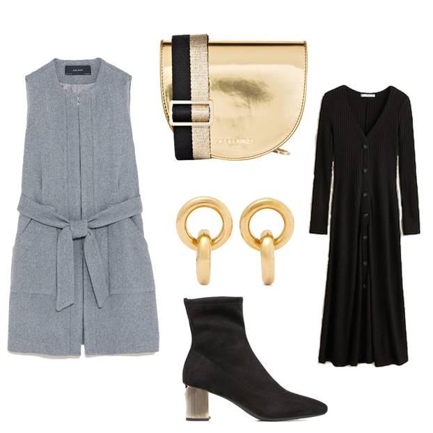 Longwesten stylen: Graue Weste, goldene Tasche, schwarzes Kleid, schwarze Stiefeletten, goldene Ohrringe