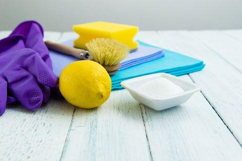Zitronensäure: Eine Zitrone neben Pulver und Schwamm