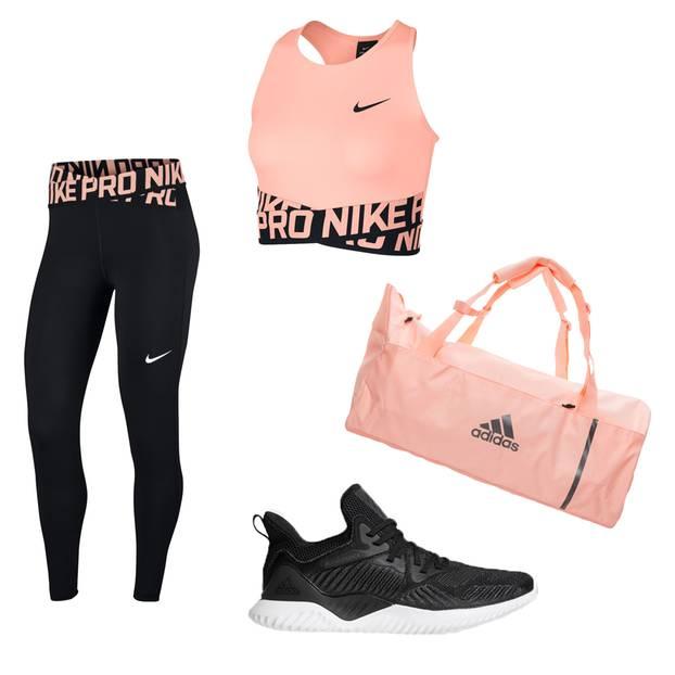 Beim Sport gut aussehen: Sportoutfit in Rosa und Schwarz