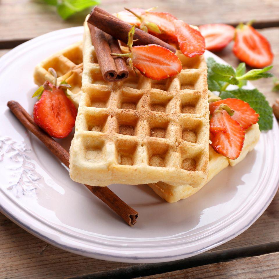 Frühstück mit Haferflocken: Haferflocken-Zimt-Waffeln