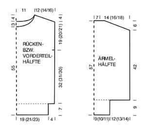 Zweifarbenpulli stricken: Schnittmuster