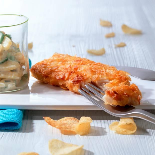 Seelachsfilet mit Chips-Panade