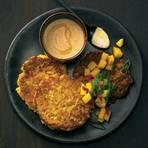 Kürbis-Kartoffel-Puffer mit Mango