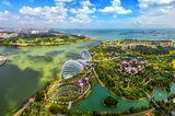 Wo ist es im Winter warm? Vogelperspektive Singapur