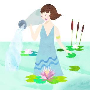 Jahreshoroskop Wassermann: GemalteFrau, die in einem Teich steht